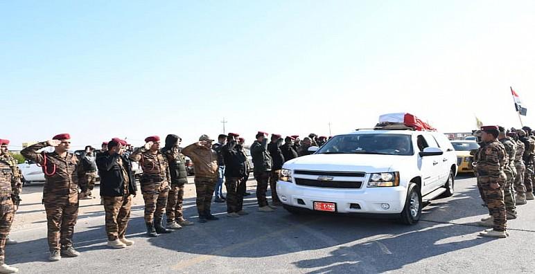 شرطة ذي قار تشيع شهيدها في الاحتجاجات الاخيرة، و تؤكد عزمها على حفظ الارواح والممتلكات