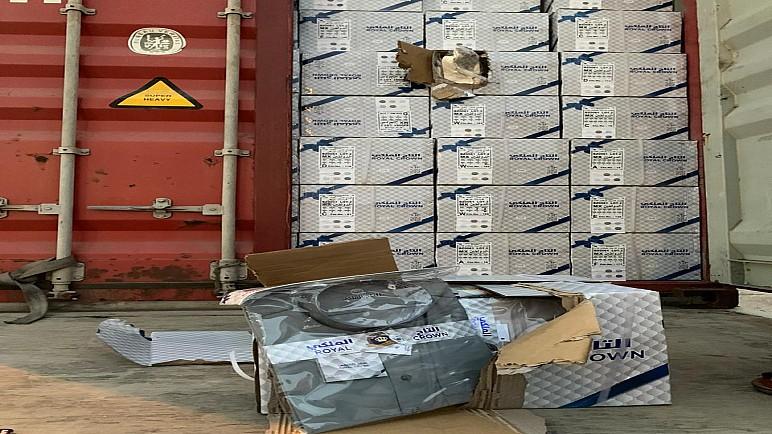 المنافذ الحدودية تضبط حاويتين محملتين بمواد متنوعة بدون موافقات رسمية في ميناء ام قصر