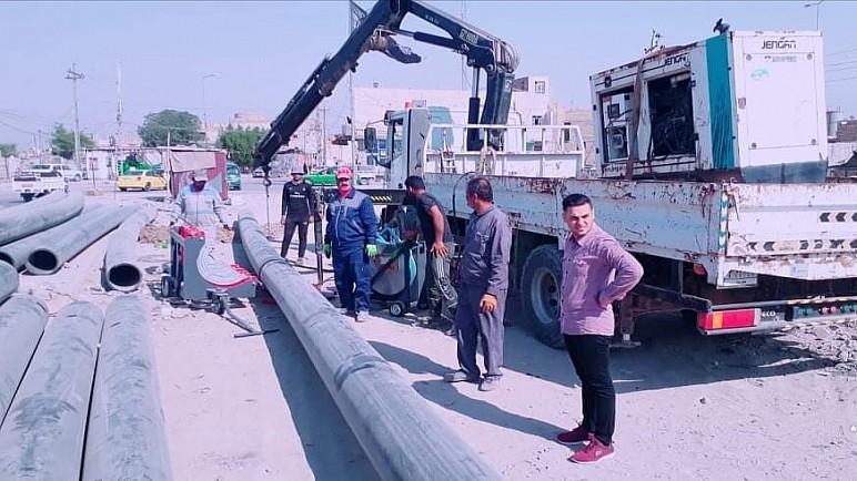 المباشرة بأنشاء خط مجاري ناقل من مدينة الصدر امتدادا أور الثانية